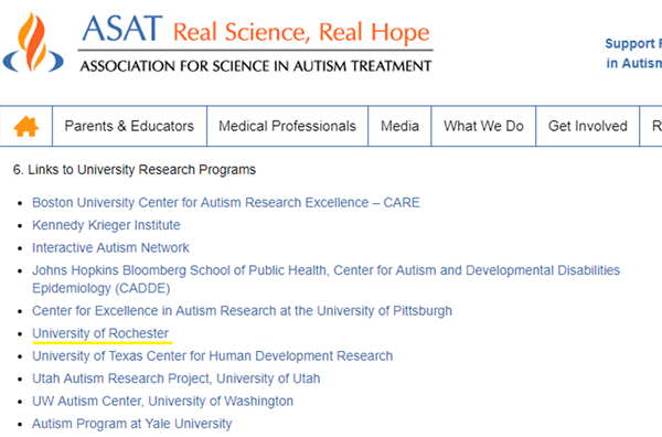 link from Association for Science in Autism Treatment site