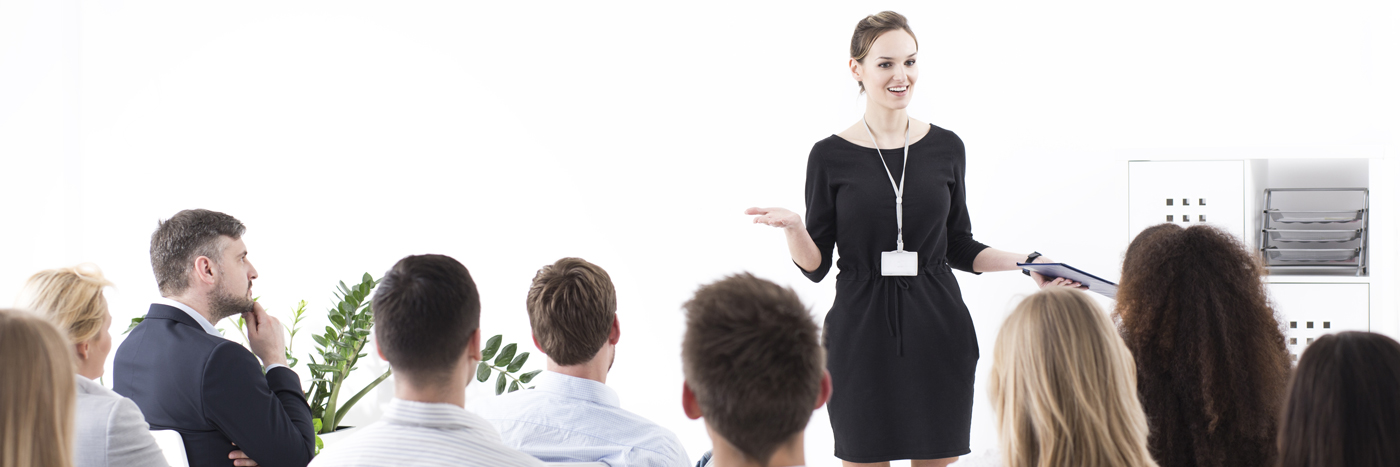 woman presenting at meeting