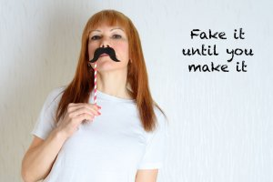 Woman with mustache disguise: impostor