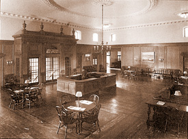 Strong Memorial Hospital lobby, circa 1926, now the Edward G. Miner Library reading room