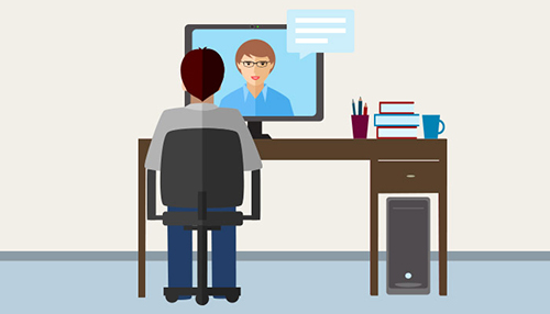Cartoon of telehealth visit