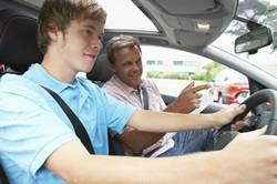 Teen driving with instructor