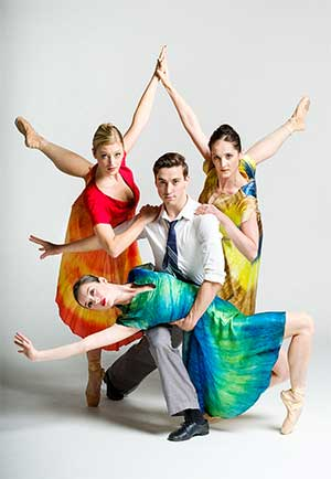 rochester city ballet - three women and one man dancers posing