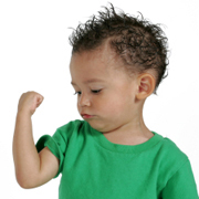 Toddler Flexing Muscles