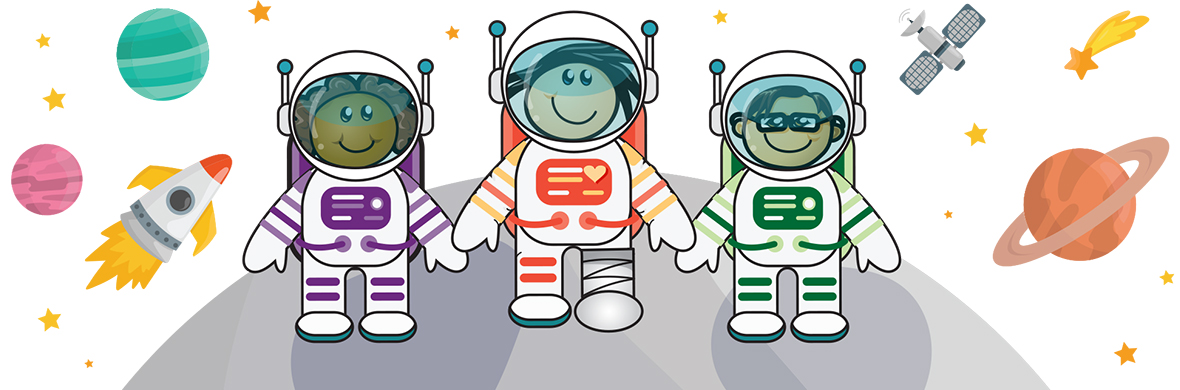 Sandy and Friends Stroll on the Moon