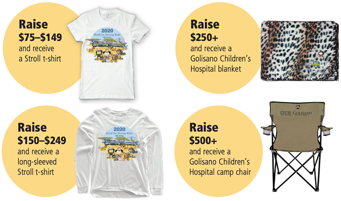 2020 stroll incentives, shirts, blankets, camp charis