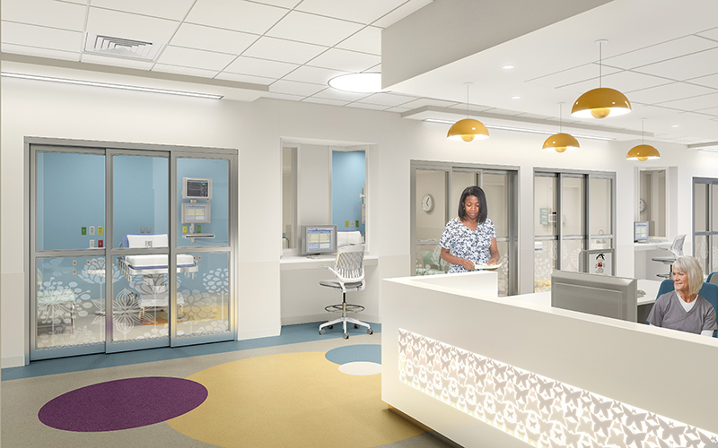 PICU – Nurse's station and patient rooms. Rendering