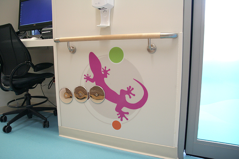 Child friendly graphics adorn the halls and walls of the pre-op and post-op recovery areas.