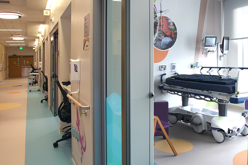 Surgical Floor hallway and view into patient room