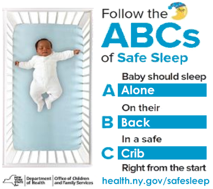 ABCs of sleep safe graphic, alone, on back, in a crib