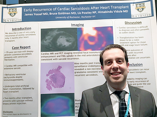 Dr. James Youssef presenting his research at the International Society of Heart and Lung Transplantation Annual Meeting in 2019