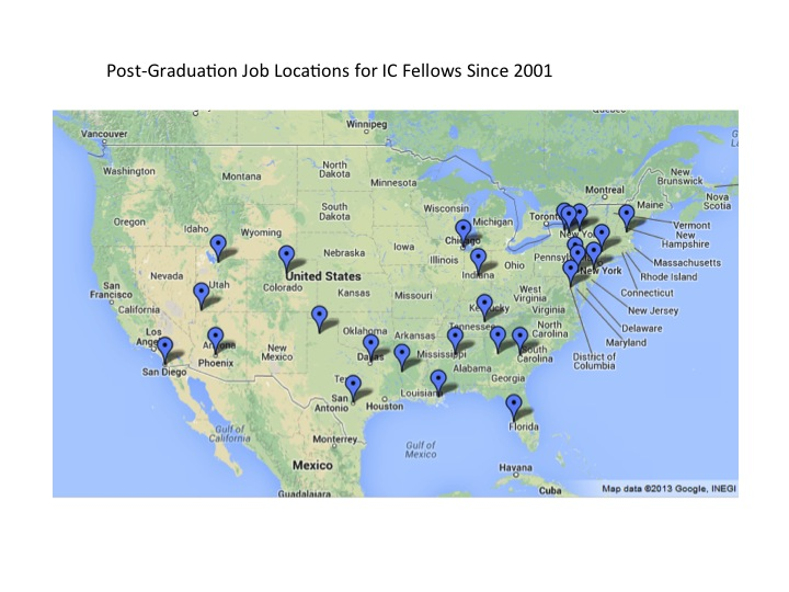 Map of IC Graduates since 2001