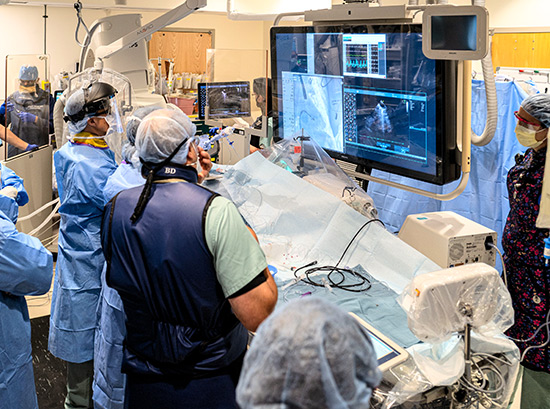 Fellows gain a wide range of clinical experience with a variety of procedures, such as this transcatheter mitral valve repair procedure