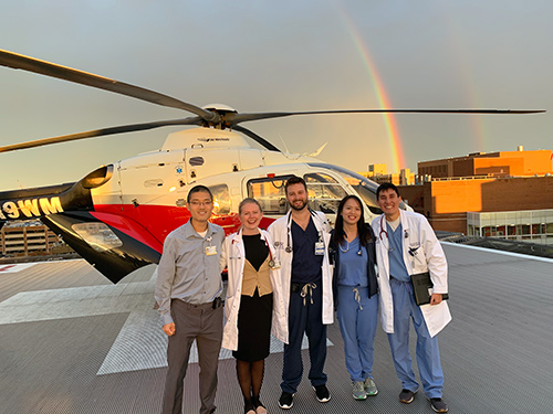 Residents on the helipad on Strong Memorial Hospital