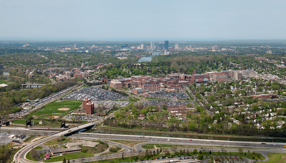 Aerial view of the University of Rochester, the Medical Center, and Downtown Rochester