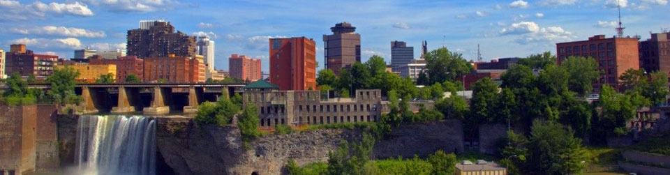 Rochester NY Skyline and High Falls