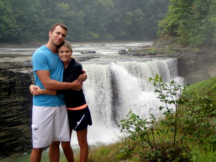 Derek and Lisa in front of falls