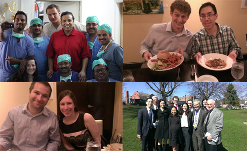 Top Row : Helen Levey with IVUMed team, Pune, India; Ben Nelson and Matt Truong, Bottom Row: Scott Quarrier and Janet Kukreja;  Upstate NY Urological Resident Research Day