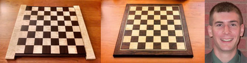 collage image of Chess board in progress, finished and photo of Dan Marker