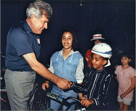 1991 - Bike give away to 'Roll Model' students
