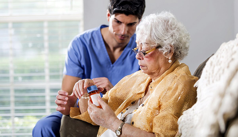 Physician with elderly woman