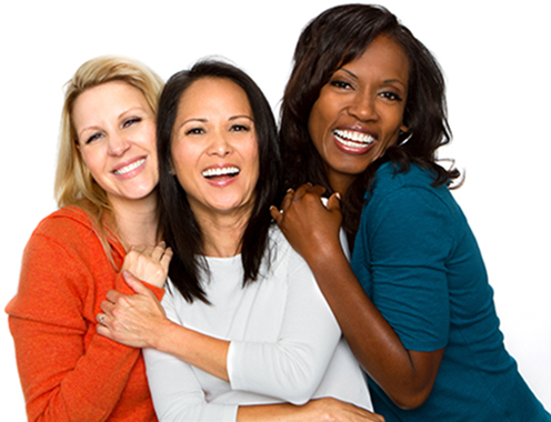 Group of three women smiling