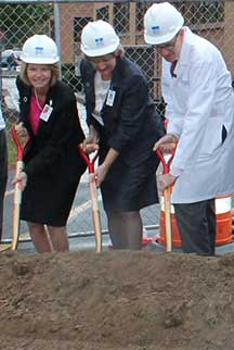 Pictured left to right: Eva Benedict, Amy Pollard, and Jonathan W. Friedberg, M.D.
