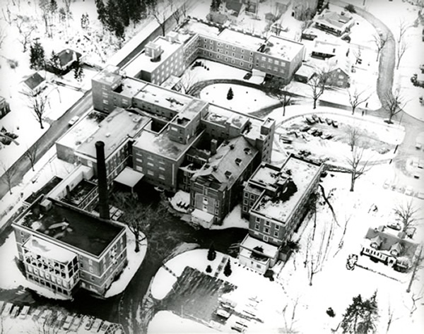 Aerial view of Highland Hospital circa 1960