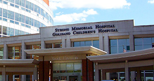 Entrance to Strong Memorial Hospital on Jackson Drive