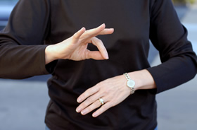 Woman using sign language