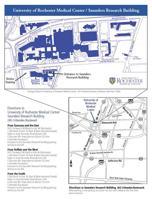 Saunders Research Building Directions and Map
