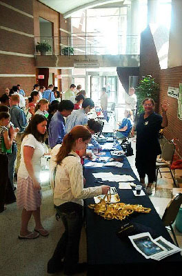 2007 DSH - photo of information materials table with attendees looking