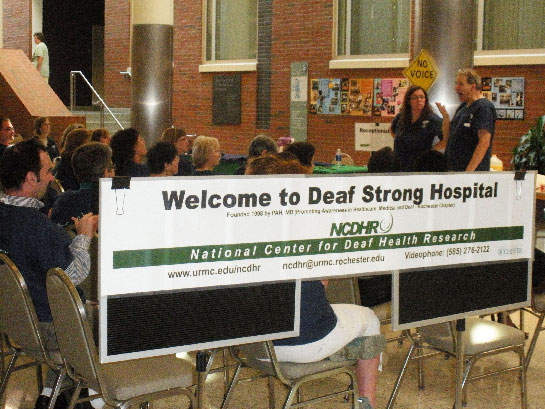 photo of NCDHR deaf strong hospital sign