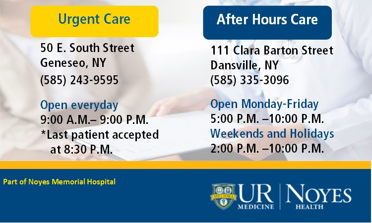 Urgent Care in Geneseo and After Hours Care in Dansville