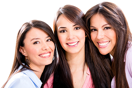 Group of smiling young women