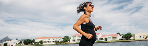 Pregnant Woman Walking Fast for Exercise