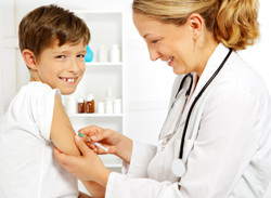 Doctor giving a child an immunization