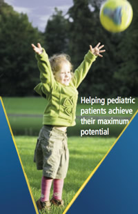 Child throwing ball. Caption: Helping pediatric patients achieve their maximum potential