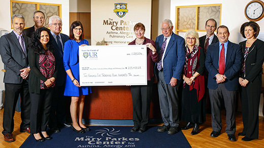 Check for $205,400 for Mary Parkes Center for Asthma Allergy and Pulmonary Care