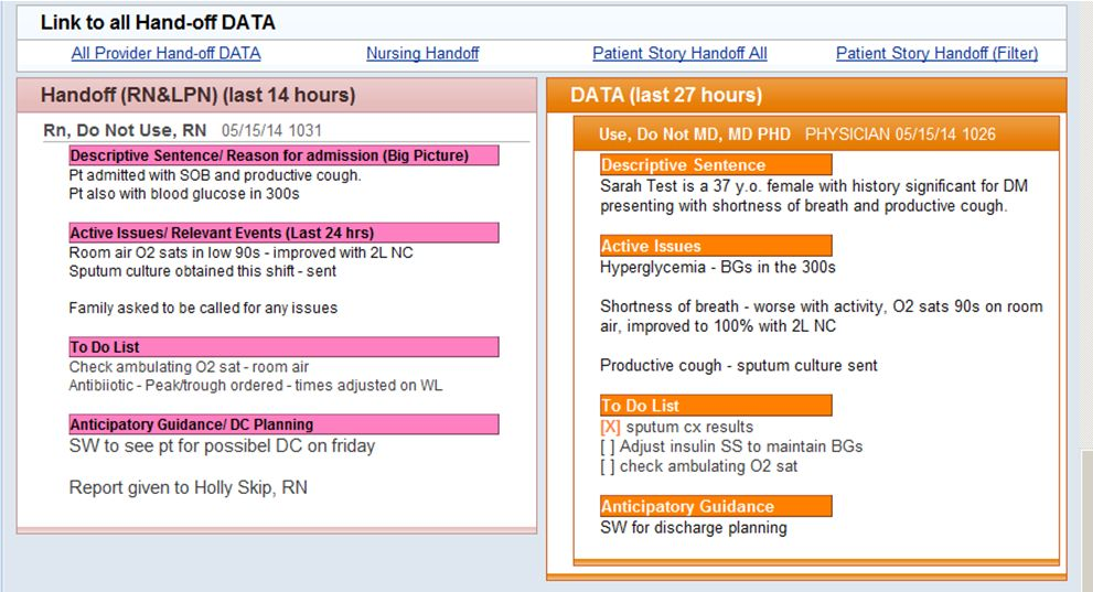 nursing handoff tool screenshot