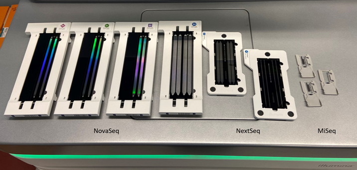 Side by side of Illumina sequencer flow cells. NovaSeq SP, S1, S2, S4. NextSeq Mid and High. MiSeq Nano, v3, and Micro