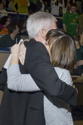 Claire Shannon gives hug