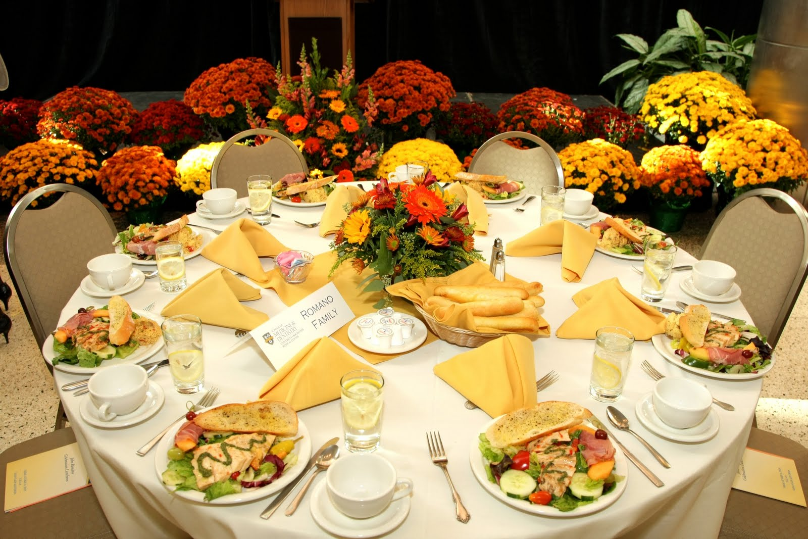 table and flower arrangement