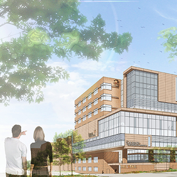 A rendering of a couple looking at the new Golisano Children's Hospital
