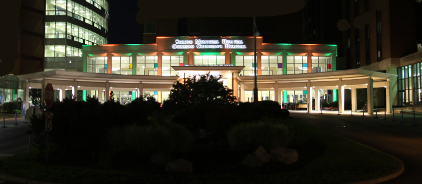 Colorful Pillars of Light Shine on Strong Memorial Hospital Entrance