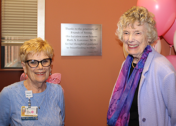 Rose and Dr. Ruth Lawrence smile for a picture at the dedication of a lactation room Friends of Strong funded during her time as Council President.