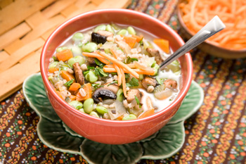 Lima bean, barley, and mushroom soup