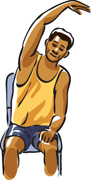 Illustration of a man demonstrating a side stretch.