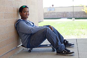 Teen boy at school