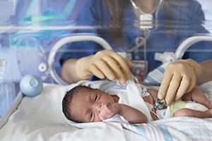 Female doctor examining newborn baby in incubator
